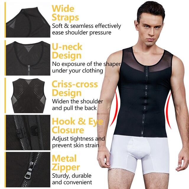 VASLANDA Belly Slimming Belt Fat Burning Shaperwear Mens Sweat Vest Waist Girdle Corset Shaping Underwear Sauna Tank Tops Shaper 2
