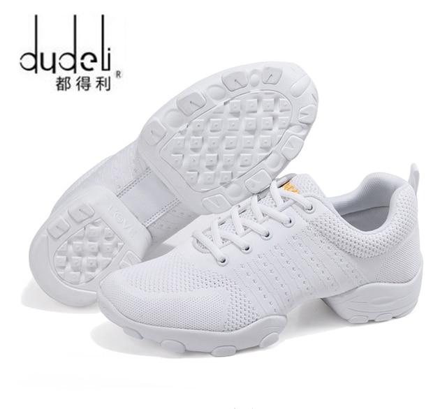6ebdc571996df DUDELI hombres modernos de Fitness zapatos de baile suave negro bailando  zapatillas de deporte blanco de malla transpirable danza Jazz zapatos de  señora de ...