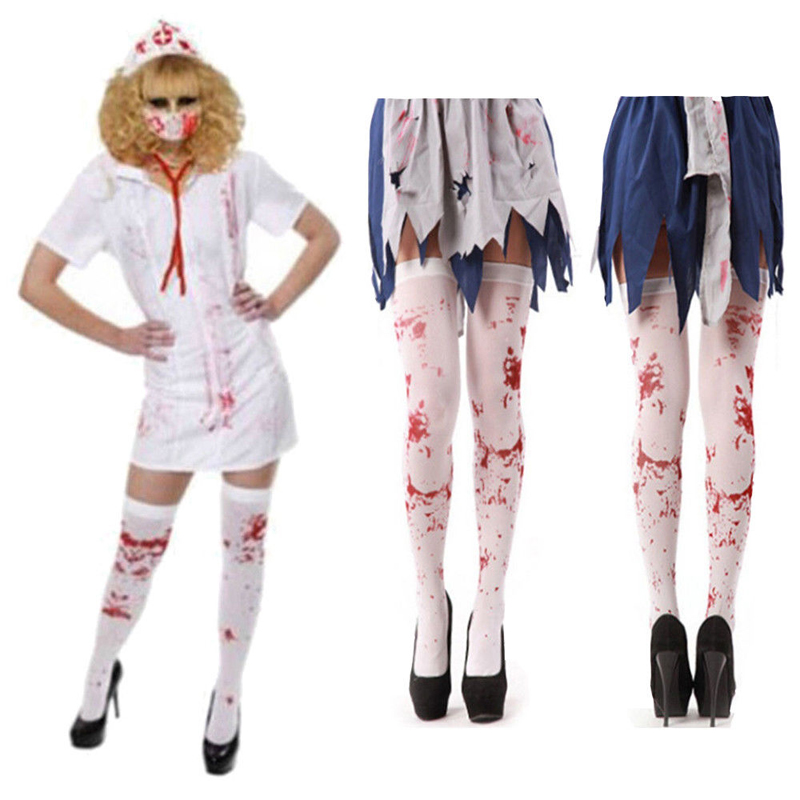 LADIES HALLOWEEN WHITE BLOOD STAINED STOCKINGS FANCY DRESS SOCKS ONE SIZE