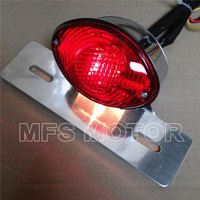 Red Motorcycle Parts License Plate Brake Tail Light For Harley Davidson For Ducati Monster Universal Cruiser