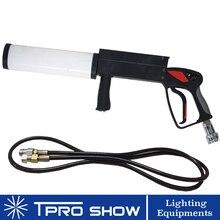 Mini CO2 pistolet ręczny LED pistolet Co2 Cryo maszyna RGB kolorowy CO2 Jet dla piosenkarza DJ etap z wysokociśnieniowym wąż gazowy
