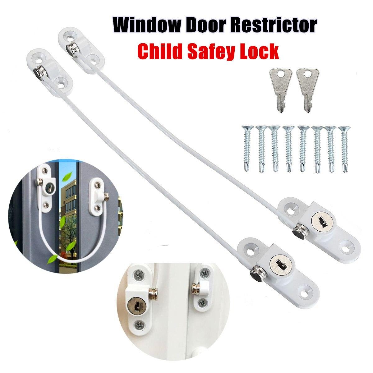 4x Kids Baby Window Door Cable Restrictor Lock Child Baby Security Key Lock