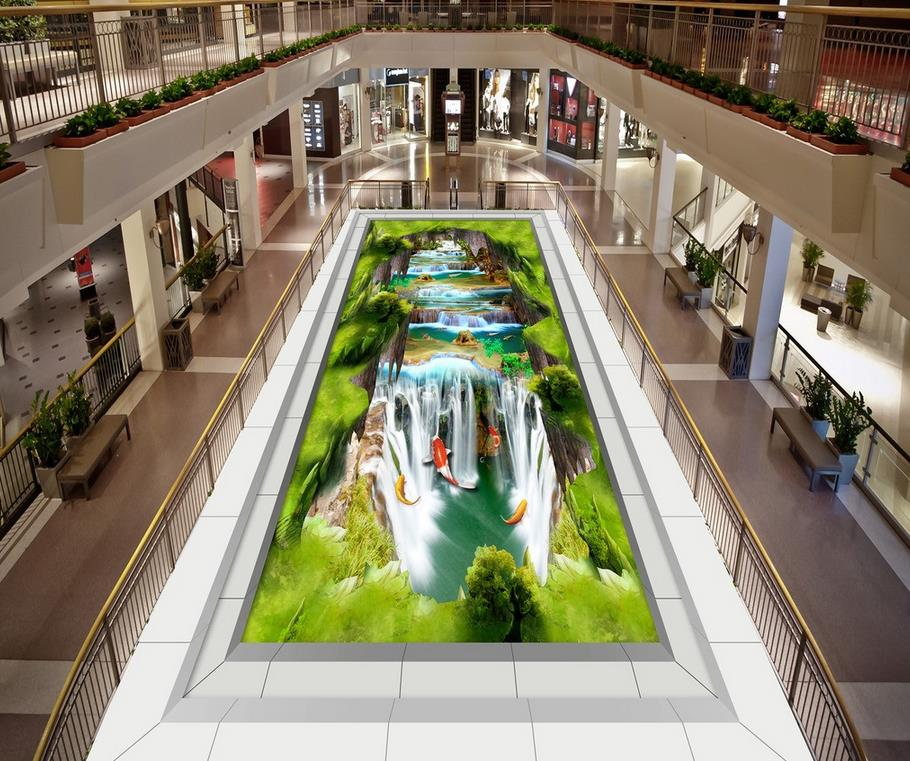 Mountain 3D PVC floor wallpaper Floor wallpaper 3d for bathrooms Custom Photo self-adhesive 3D floor Home Decoration