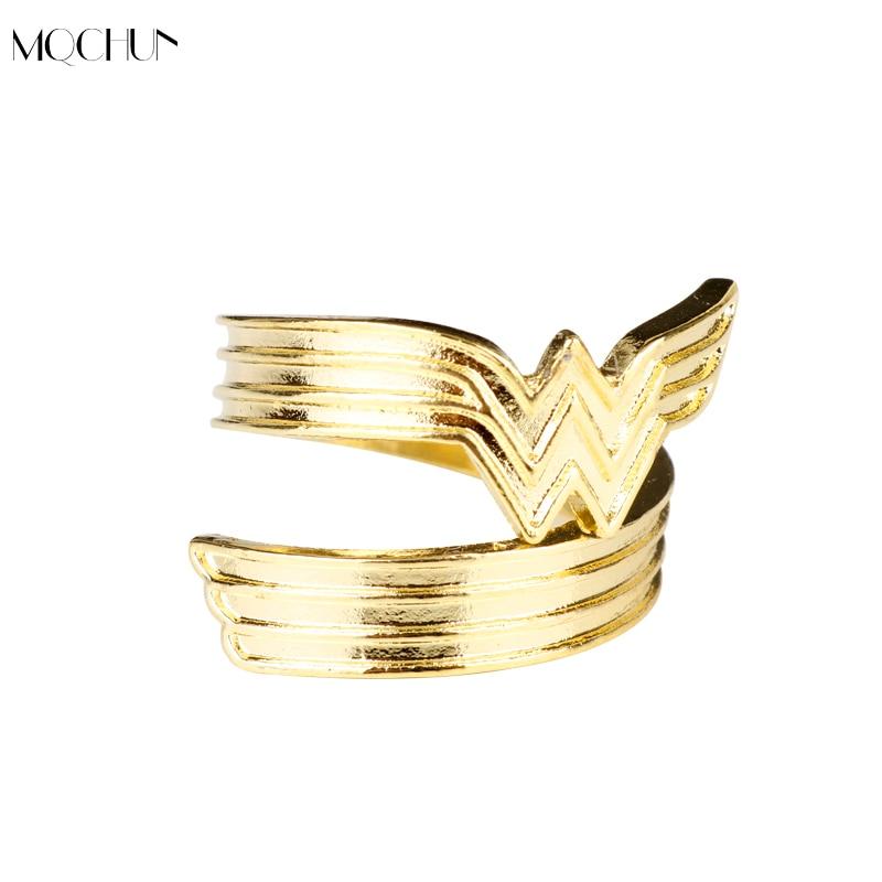 MQCHUN Wonder Woman Tiara Ring Movie Jewelry For Girls DC Superhero Adjustable Ring For Women Men Cosplay Party Christmas Gift