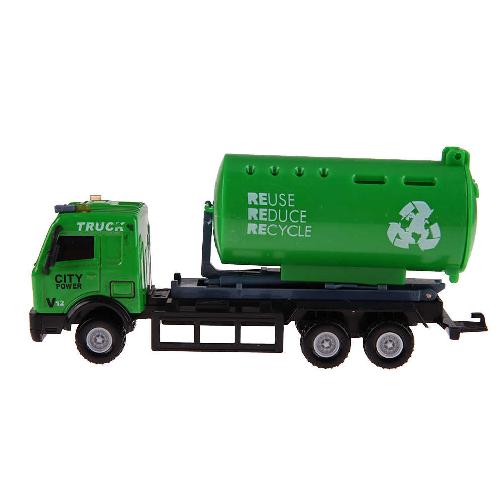 1: 43 Super Mini Engineering Alloy Roller Sanitation Garbage Truck Mixer Construction New Diecasts Engineering Vehicle Model Toy