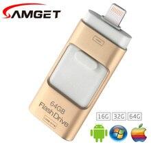 Фотография Samget EasyFlash 16GB 32GB 64GB Mini USB Metal Pen Drive OTG USB 3.0 Flash Drive For iPhone 5/6/6S Plus/7/ipad/MAC/PC/Android