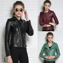 Autumn black red green street fashion motorcycle genuine leather jacket womens sheepskin coats high quality short clothes 2XL