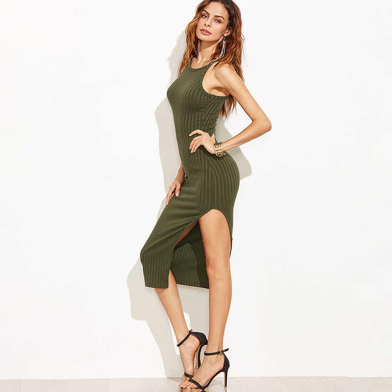 Bigsweety Sonbahar Moda Yan Yarık Nervürlü Midi Elbise 2018 Ilkbahar Sonbahar Yeni Düz Renk Kadınlar Seksi Bodycon Cami Elbise Vestidos