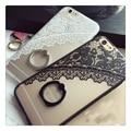 Hot vs secret negro encaje floral patrón case para iphone 7 7 plus 6 6 s 6 más 6 splus Duro Contraportada Casos la mitad de encaje rosa anillo