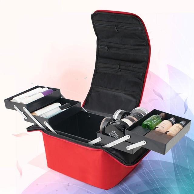 Women Fashion Makeup Organizer Box Large Capacity Travel Professional Portable Cosmetic Bag Ladies Suitcase Layers Storage Case