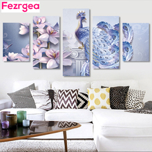 Fezrgea 5pc 5D DIY Full Round Diamond Painting Peacock Embroidery Cross Stitch Mosaic Multi-picture Home Decor
