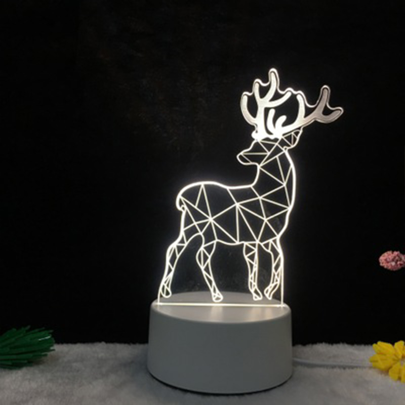 New 3D Small Night Light Acrylic LED Table Lamp Tower Moon Cartoon Animal Luminous Pattern Creative Gifts Bedroom Decoration AA