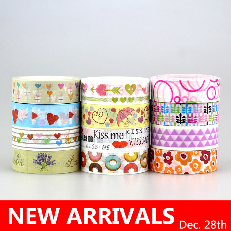 10 pc/Lot 523 patterns for choice 15mm *10m Tape Christmas and flowers Print DIY Sticky Deco Masking Japanese Washi Tape Paper 586 patterns hot 30pcs lot tape flowers chevrons print deco diy adhesive masking tape japanese washi tape paper 10m wholesale