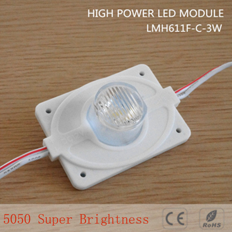5pcs DC12V High Power Waterproof LED Module Light With Injection Len (1LED, White, 3W) For Double-sided Lightbox High Brightness