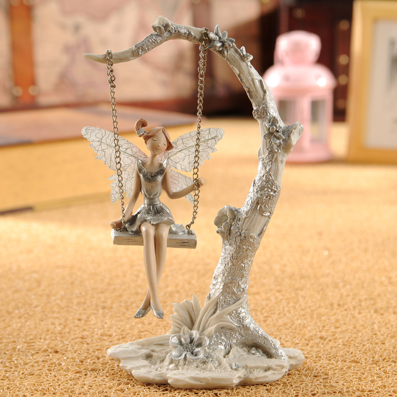 European Resin Angel Ornaments Fairy Garden Miniature Figurines Swing Elf Wedding Gift Living Room Home Decoration Accessories
