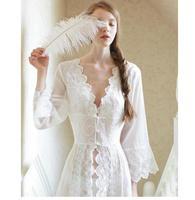 Sleepwear Sexy Long Nightwear White Lace Vintage Princess Dress Medieval Nightgown European style Palace Robe Beautiful Vestidos