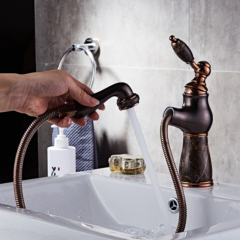 Bathroom Faucets Oil rubbed Bronze Pull Out Faucet Vintage Jade Bath Basin Mixer Tap Hot Cold Water Tap Sink Crane oil rubbed bronze basin sink faucet dual handle 3 hole mixer tap hot and cold water widespread bathroom faucet
