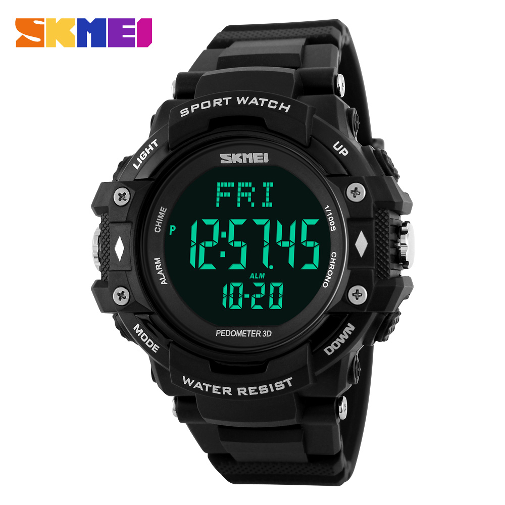 SKMEI Men Pedometer Heart Rate Monitor Calories Counter Fitness Tracker Digital LED Display Watch Outdoor Sports