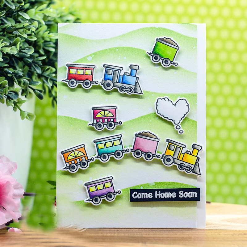 JC Rubber Stamps and Metal Cutting Dies Scrapbooking Mountain Train Craft Stencil Cut Die for Card Make Album Sheet Decoration