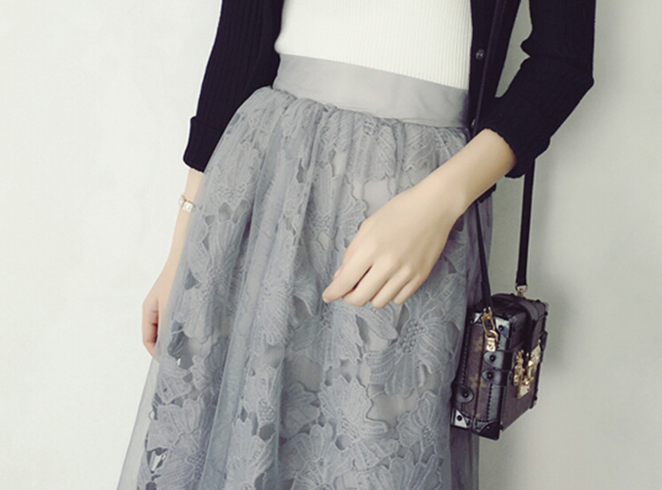 Elastic waist Lace flower length skirt 2016 new spring Water soluble lace yarn elastic waist skirt fight girls skirt Calf skirt 2