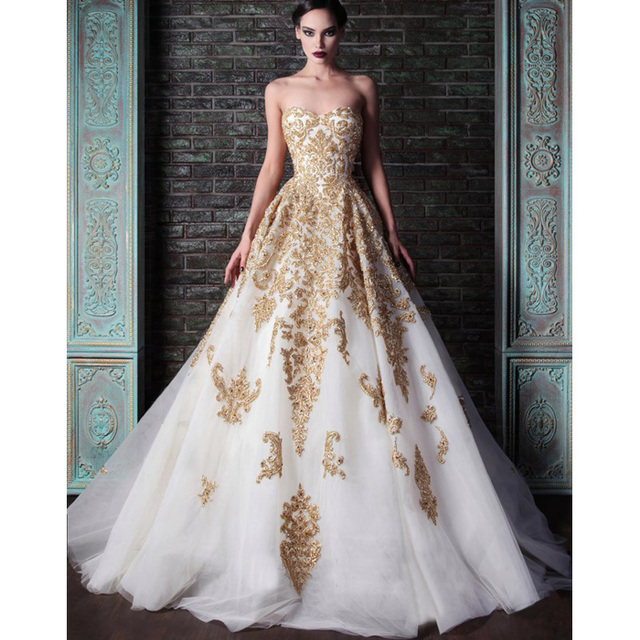 Gold Wedding Dress 2015 New Elegant Bridal Gowns Discount Price Lace ...