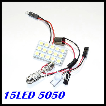 Free Shipping 50pcs/lot led dome light 15SMD 5050 LED Car Panel light Interior Room Dome Car Light Bulb Lamp with 3 Adapters