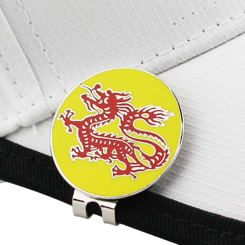China Dragon Golf Cap Clip Golf Ball Marker Alloy Professional 1.18""