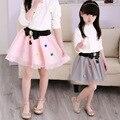 New Skirts for Girls 2016 Spring Summer Bow Girls Tutu Skirt Children Clothing Princess Lace Pearls Cute Elegant Kids Girl Skirt