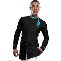 African men's dashiki shirts black with print Ankara tops patchwork shirt men long sleeve stand collar shirt wedding wear