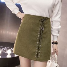 2018 Summer High Waist Faldas Mujer Lace-up Skirts Jupe Femme Lace Up Skirts Women Skirts Black Mini Suede Skirt For Women H0015