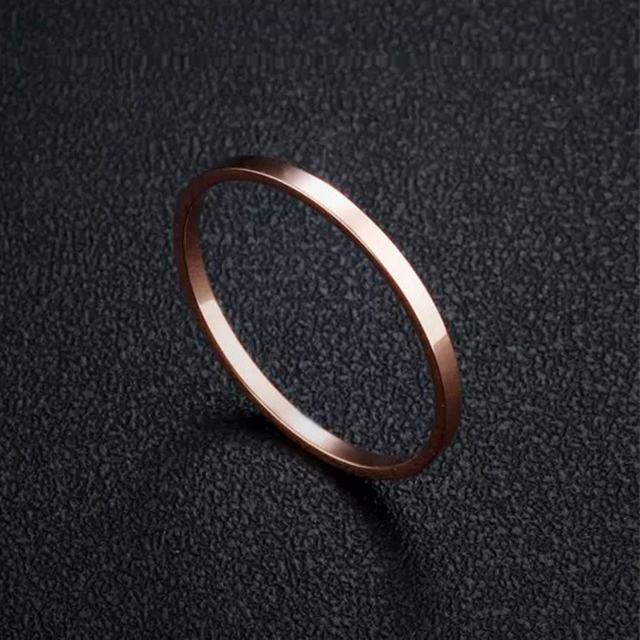 1mm Women's Plain Simple Wedding Rings Small  Rose Gold Color 316L Stainless steel thin rings for women