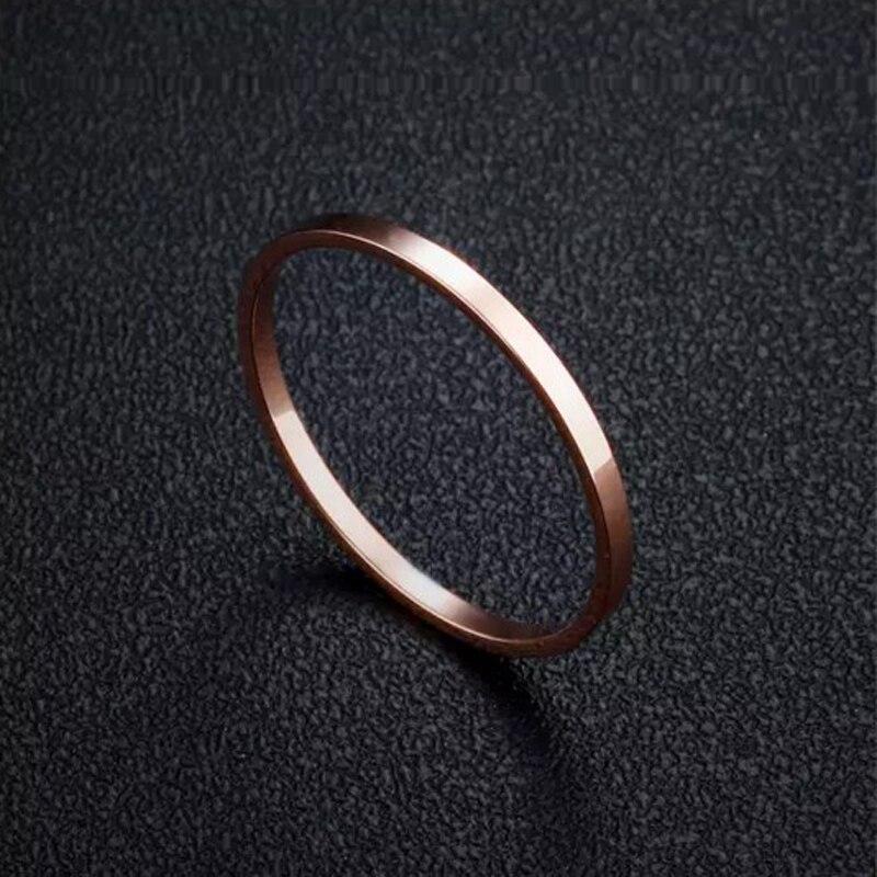 1mm frauen Plain Einfache Hochzeit Ringe Kleine Rose Gold Farbe 316L ...