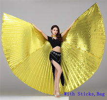 Egyptian Gold isis Wings Dance Wings Belly Dance Isis Wing Adult With Sticks Belly Dance Oriental Accessories Butterfly Wings belly dance wings adult and child rainbow butterfly 360 degree big butterfly props high quality belly dance isis wings no stick