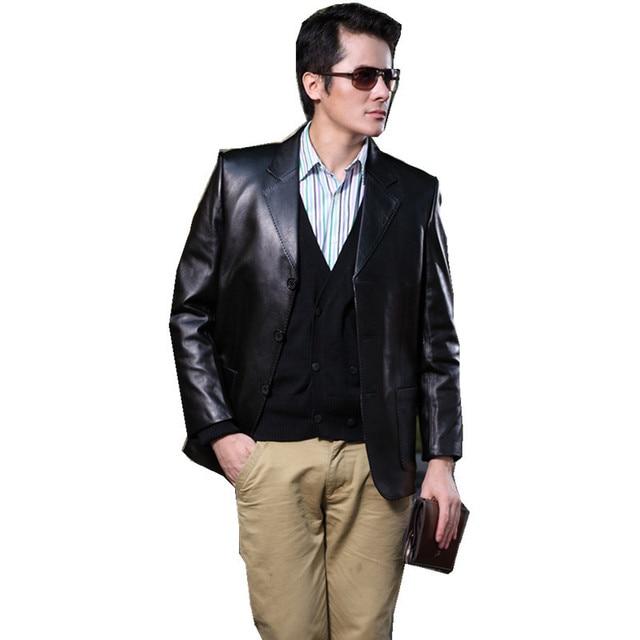 Slim Suit Men Large Size Turn-down Collar Long Sleeve Single Breasted Black Genuine Leather Clothing Sheepskin Coat MSTS40
