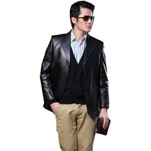 Slim Suit Men Large Size Turn-down Collar Long Sleeve Single Breasted Black Genuine Leather Clothing Sheepskin Coat MSTS40