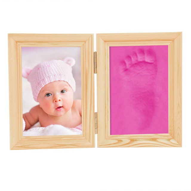 Baby Handprint Footprint Wooden Frame Mold Baby Gift Keepsakes Package High Quality Freeshipping