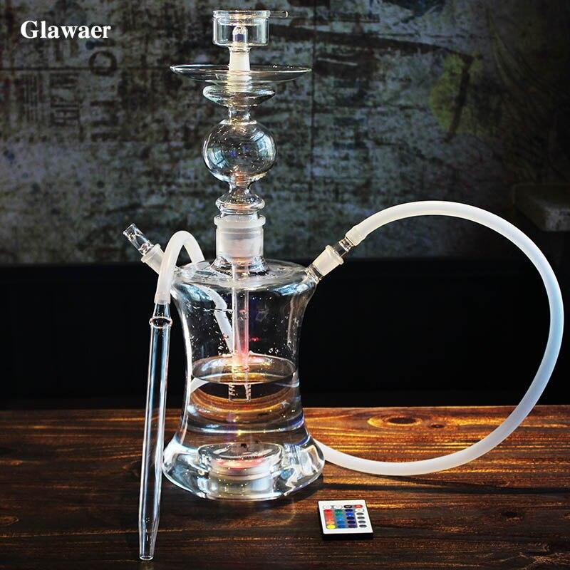 2017 classique grand verre shisha 5.5mm épaisseur en verre narguilé eau fumée tuyaux verre tube bol lumière LED silicone tuyau cachimba