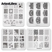 New Arrival 4pcs/set Flower & Star design Nail Art Stamping Stamp plate Template nail polish stamp tools For Nail art