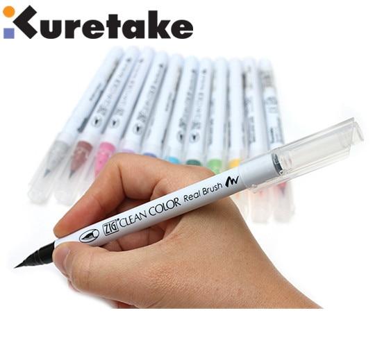 KURETAKE JAPAN ZIG RB-6000AT Clean Color Real Brush Fude Pen single#Black/_#010