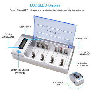 Image 1 - PALO AA AAA C D battery charger 4 slot LCD Battery Charger for 1.2V AA AAA C D Rechargeable battery charger