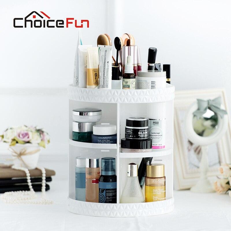 Rack-Shelf Cosmetic-Organizer Storage Makeup Bath Rotating Acrylic Plastic White FUN