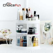 CHOICE FUN Rotating Large Acrylic Cosmetic Organizer White Plastic Storage Bath Bathroom Rack Shelf for Makeup