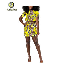 2019 african design 2-piece for women short top+ankara skirt print pure cotton dashiki plus size Party AFRIPRIDE S1926019