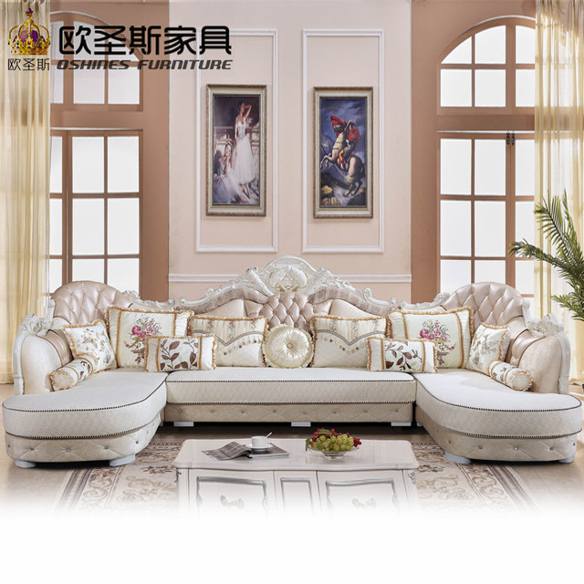 Luxury U Shaped Sectional Living Room Furniutre Antique Europe Design New Clical Heart Wooden Carving Fabric