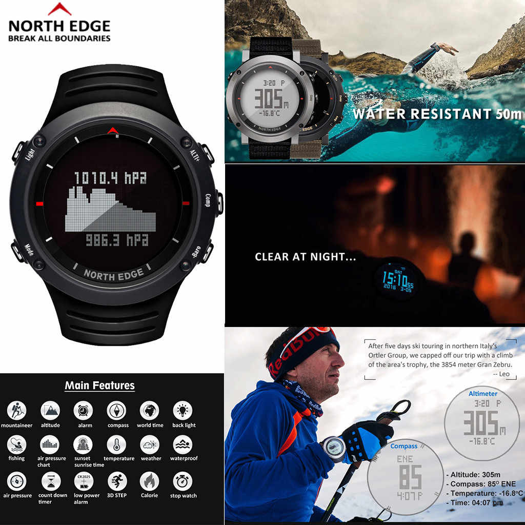 North Edge Altay Sports Smart Outdoor Compass Wrist Watch Back Light For Fishing Men Smartwatch Watches Fitness Bracelet watch