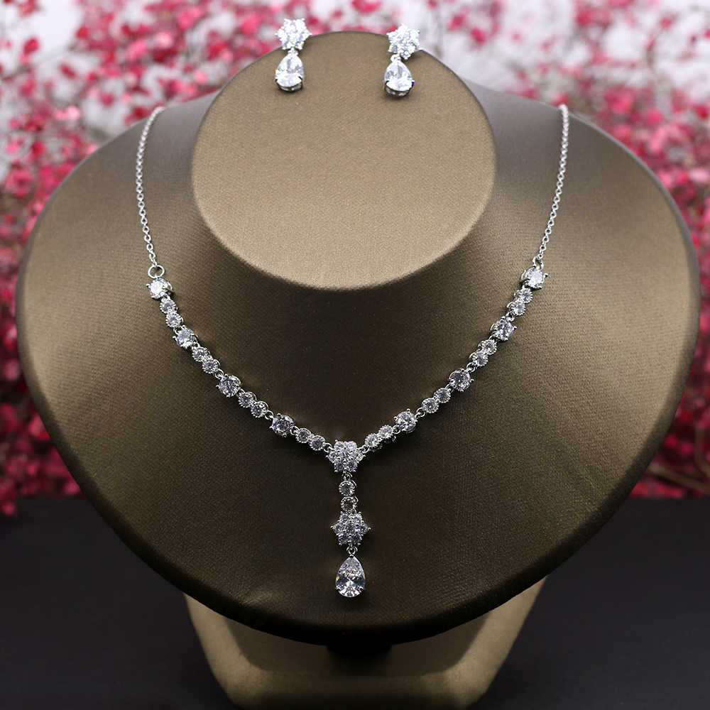 Round-Cut Zircon Y Shape Necklace Choker Fashion Cubic Zirconia Jewelry Set Women Dangle Earrings Bijoux Wedding Party Jewellery