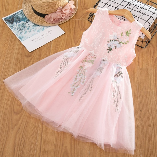Baby Girl Floral Lace Mesh Princess Tutu Dress Children Hollow Out Wedding Christening Gown Dress For Kids Party Wear Vestidos 4