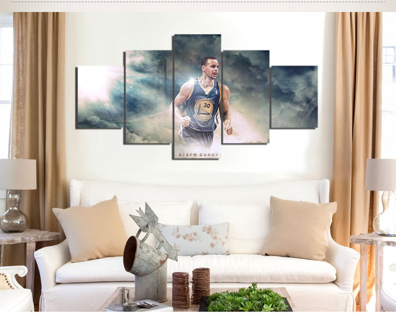 Warriors Curry Shining Star Canvas Painting Wall Art 5 Pieces Prints ...