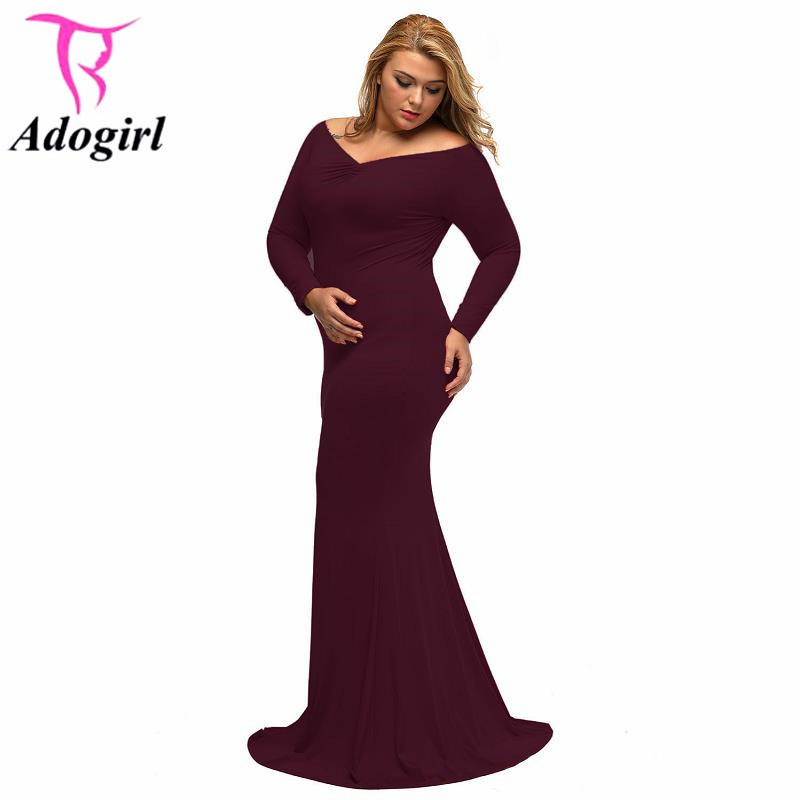 Off Shoulder V Neck Big Sized Floor Length Dresses Long Sleeve Plus Long  Dress Winter Autumn Bodycon Package Hip Maxi Dresses In Dresses From  Womenu0027s ...