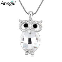 ANNGILL Sparkling Owl Charming Necklaces Pendants Long Necklace For Women Crystals From Swarovski High Quality Vintage